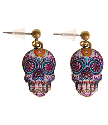 Blue Banana Sugar Skull Earrings (Blue/Purple)