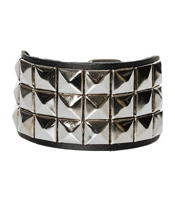Blue Banana 3 Row Silver Pyramid Studded Wristband (Black)