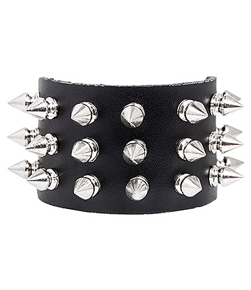 Blue Banana 3 Row Silver Spike Wristband (Black)