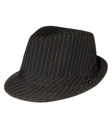Blue Banana Pinstripe Trilby Hat (Black)