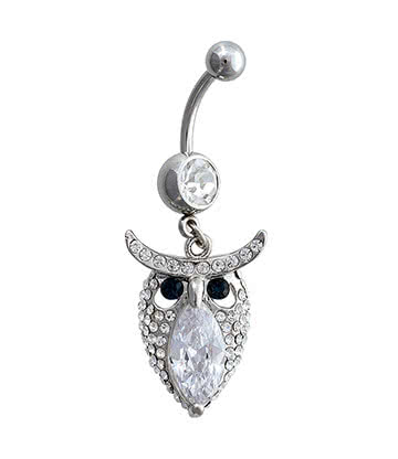 Blue Banana Surgical Steel 1.6mm Owl Navel Bar (Crystal)