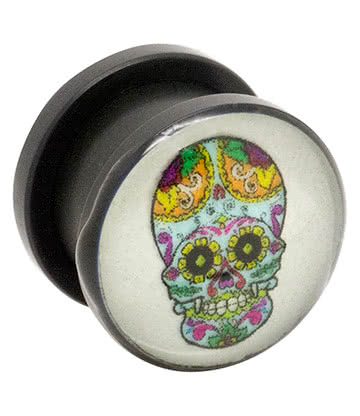 Blue Banana Acrylic Glow Skull Ear Plug 6-12mm (Multicoloured)