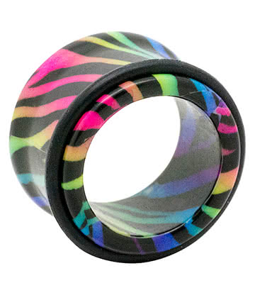 Blue Banana Acrylic Zebra Ear Tunnel 8-20mm (Multicoloured)