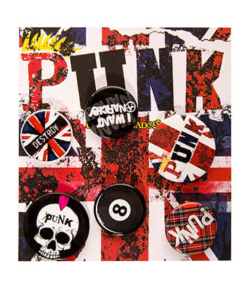 Blue Banana Union Jack Pack De Badges Pins Punk Rock UK - Taille unique