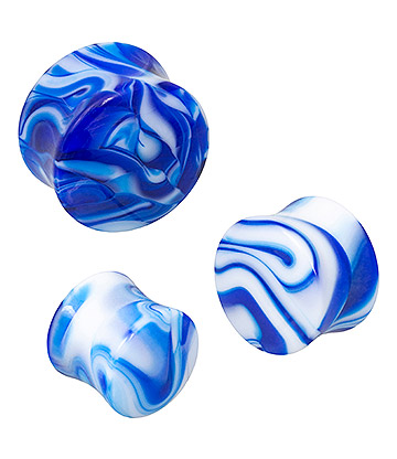 Blue Banana Acrylic Marble Ear Plug 10-20mm (Blue)