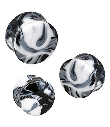 Blue Banana Acrylic Marble Ear Plug 10-20mm (Black)