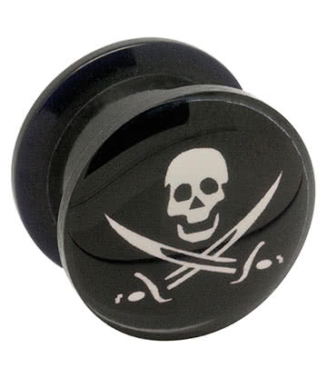 Blue Banana Acrylic Skull & Swords Ear Plug 5-14mm (Black)