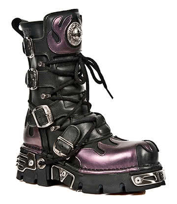 New Rock M.591-S5 Reactor Flame Calf Boots (Black/Purple)