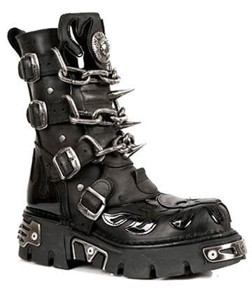 New Rock Style M.727-S1 Chain Skull Flame Reactor Boots (Black)