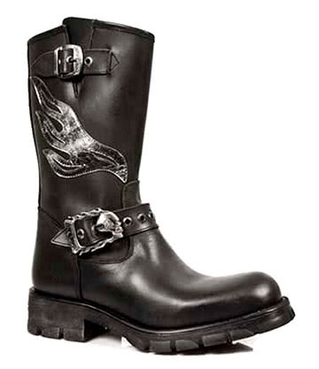 New Rock M.7601-C1 Biker Boots (Black)