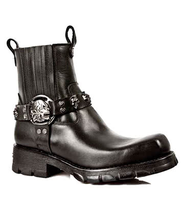 New Rock M.7621-S1 Motorcycle Half Boots (Black)