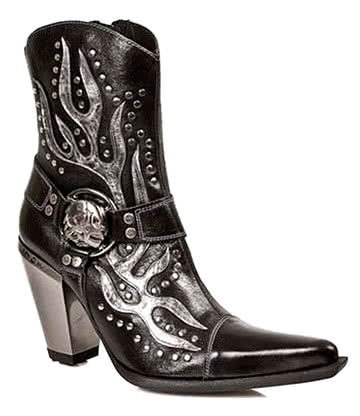 New Rock M.7919-S1 Bull Flame Half Boots (Black)