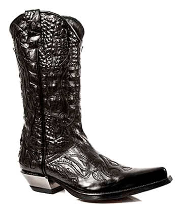 New Rock M.7921-S1 West Cowboy Flame Boots (Black)