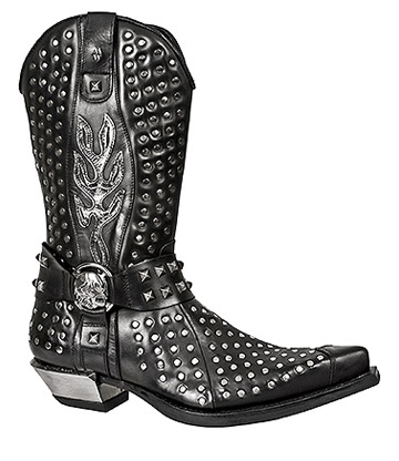 New Rock M.7928-S1 West Cowboy Flame Boots (Black)