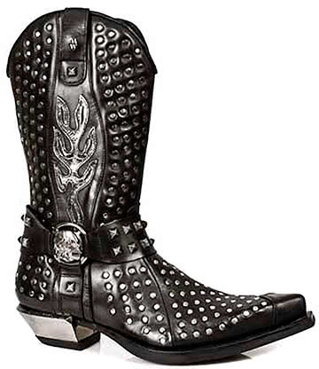 New Rock Style M.7928-S1 Studded Cowboy Boots (Black)