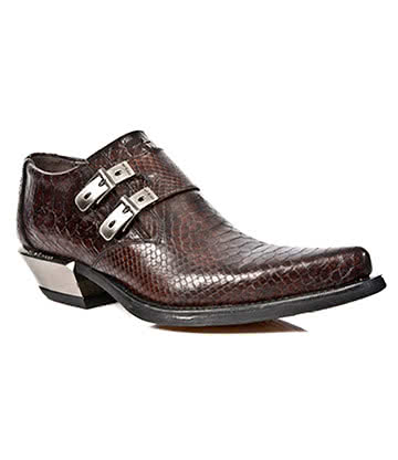 New Rock Style M.7934-S4 Crocodile Skin Cuban Heel Shoes (Brown)