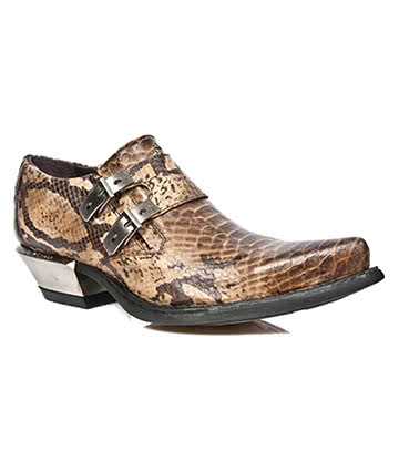 New Rock Style M.7934-S5 Snakeskin Cuban Heel Shoe (Brown)