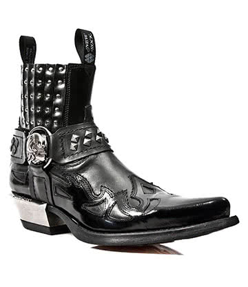 New Rock Style M.7950-S1 Studs & Skull Buckle Ankle Boots (Black)