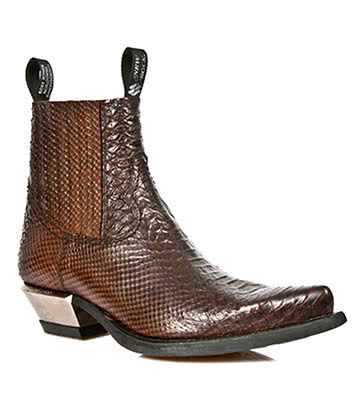 New Rock Style M.7953-S3 Crocodile Skin Ankle Boots (Brown)