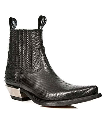 New Rock Style M.7953-S4 Crocodile Skin Ankle Boots (Black)