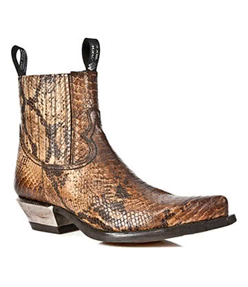 New Rock Style M.7953-S7 Snakeskin Ankle Boots (Brown)