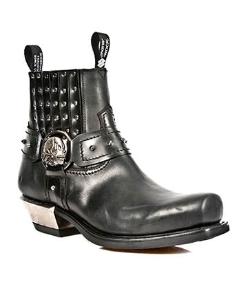 New Rock Style M.7959-S1 Stud & Buckles Ankle Boots (Black)