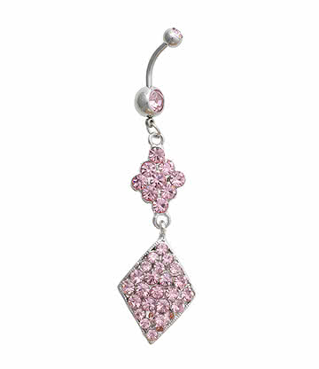 Blue Banana Diamond Shape Crystal 1.6mm Navel Bar (Pink)