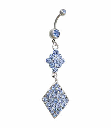 Blue Banana Diamond Shape Crystal 1.6mm Navel Bar (Blue)