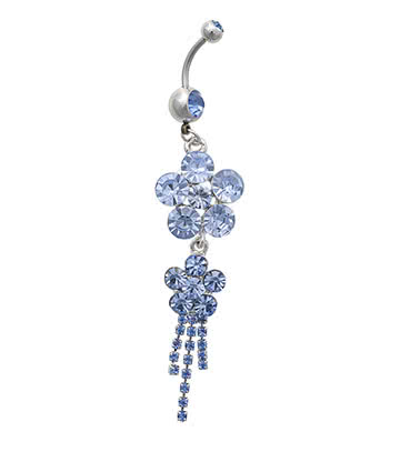Blue Banana Surgical Steel 1.6mm Flower Charm Navel Bar (Blue)