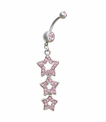 Blue Banana 3 Star Crystal 1.6mm Navel Bar (Pink)
