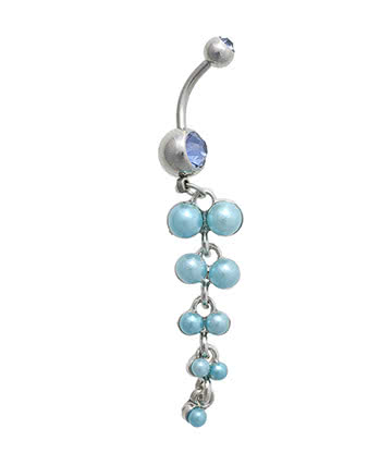 Blue Banana Surgical Steel 1.6mm Pearl Cluster Navel Bar (Blue)