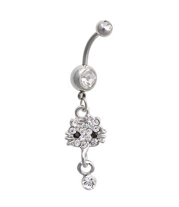 Blue Banana Surgical Steel 1.6mm Double Jewelled Cat Navel Bar (Crystal)