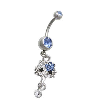 Blue Banana Cat Crystal 1.6mm Navel Bar (Blue)