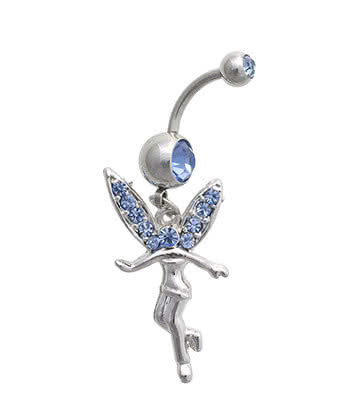 Blue Banana Surgical Steel 1.6mm Jewelled Fairy Navel Bar (Blue)