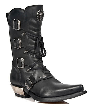 New Rock M.7993-S1 West Calf Boots (Black)
