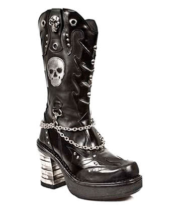 New Rock M.8304-S1 Platforma Skull Boots (Black)
