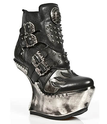 New Rock M.EXT011-S1 Extreme Heel-Less Half Boots (Black)