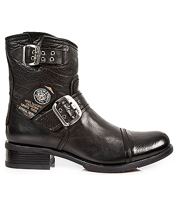 New Rock M.GY05-S10 Biker Ankle Boots (Black)