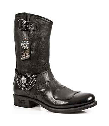 New Rock Style M.GY07-S1 Skull Pull On Biker Boots (Black)