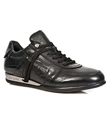 New Rock Style M.HY001-S1 Looped Laces Hybrid Trainers (Black)
