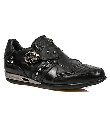 New Rock M.HY005-S1 Skull Strap Hybrid Trainers (Black)