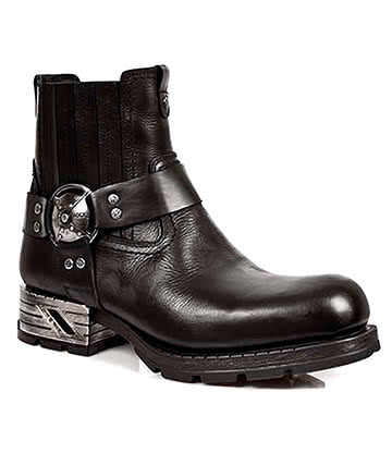 New Rock Style M.MR007-S1 Shield Buckle Motorock Ankle Boots (Black)