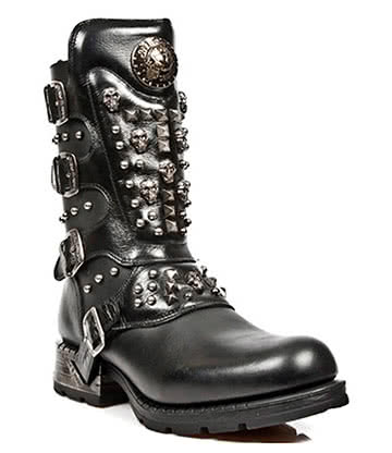 New Rock Style M.MR019-S1 Studded Motorock Boots (Black)