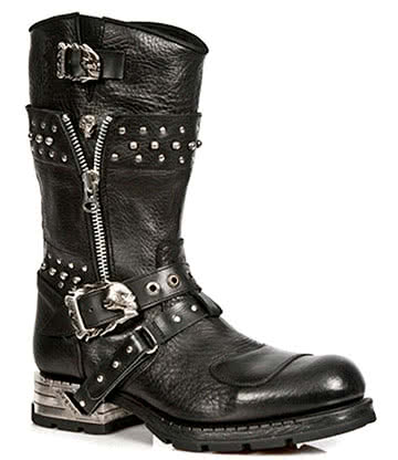 New Rock Style M.MR022-S1 Studded Motorock Boots (Black)