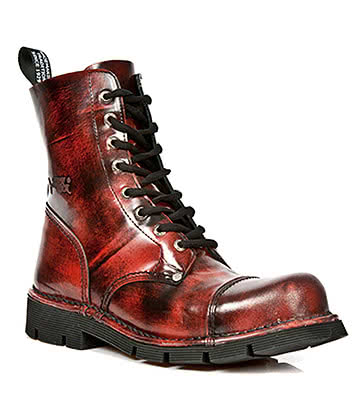 New Rock Style M.NEWMILI083-S3 Lace Up Boots (Antique Red)