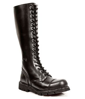 New Rock Style M.NEWMILI19-S1 Tall Military Boots (Black)