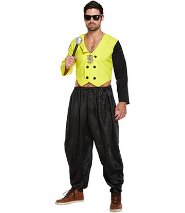Costume Fancy Dress 80s Rap King Motivo Dressing Up Per Adulti (Giallo)