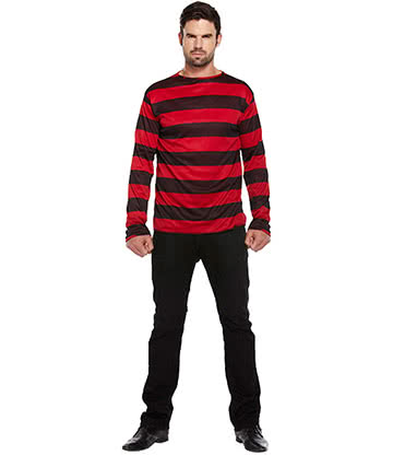 Blue Banana Striped Adult Jumper Fancy Dress Costume (Black/Red)
