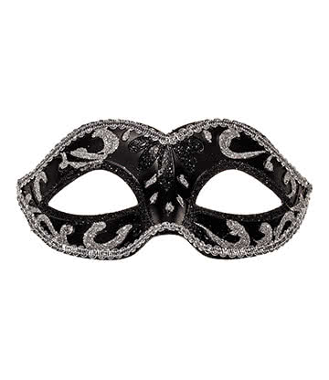 Blue Banana Masquerade Mask (Black/Silver)