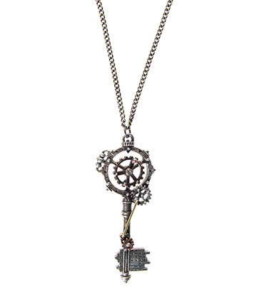 Alchemy Gothic Septagramic Coercion Gearwheel Key Necklace